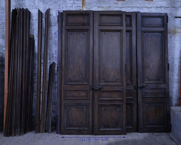 Antique Napoleon III set of five double doors in wood with paneled decor-11