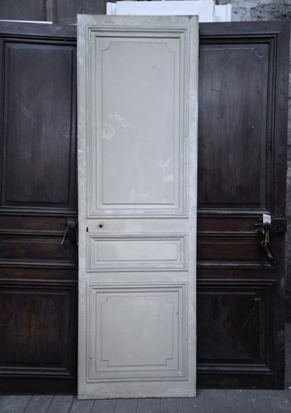 Three antique Napoleon III style simple doors in wood with a paneled decor-5