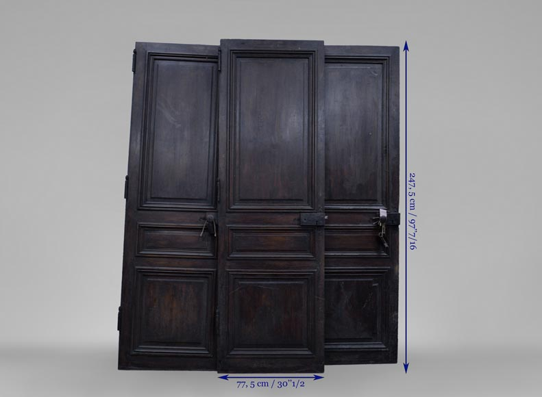 Three antique Napoleon III style simple doors in wood with a paneled decor-6