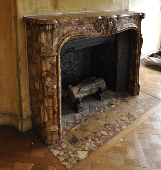 Beautiful antique Louis XV style fireplace in Aleppo Breccia marble with a large shell-3