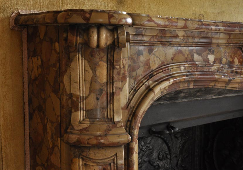 Beautiful antique Louis XV style fireplace in Aleppo Breccia marble with a large shell-4