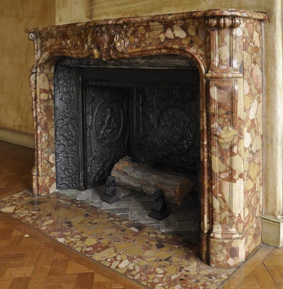 Beautiful antique Louis XV style fireplace in Aleppo Breccia marble with a large shell-6