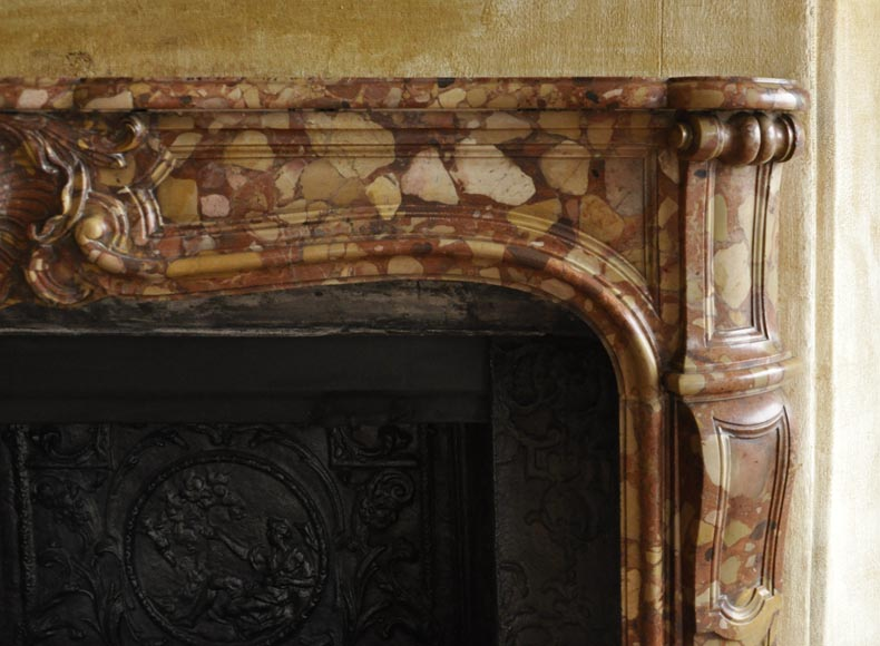 Beautiful antique Louis XV style fireplace in Aleppo Breccia marble with a large shell-7