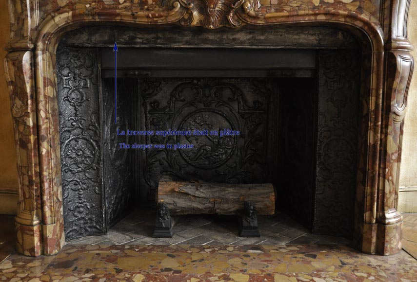 Beautiful antique Louis XV style fireplace in Aleppo Breccia marble with a large shell-9