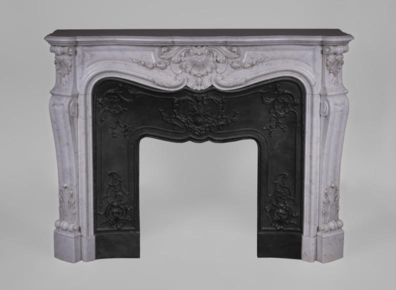 Beautiful antique Louis XV style fireplace with rich decor in white Carrara marble - Reference 3483