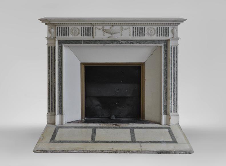 Beautiful Victorian style antique fireplace in Carrara Statuary marble and inlays of Vert d'Estours marble with vases and bowl-0