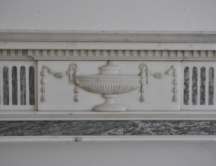 Beautiful Victorian style antique fireplace in Carrara Statuary marble and inlays of Vert d'Estours marble with vases and bowl-1