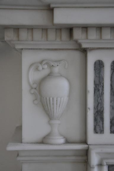 Beautiful Victorian style antique fireplace in Carrara Statuary marble and inlays of Vert d'Estours marble with vases and bowl-5