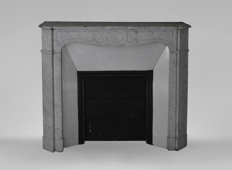 Antique Louis XV style fireplace, Pompadour model, in white Carrara marble  - Reference 3502