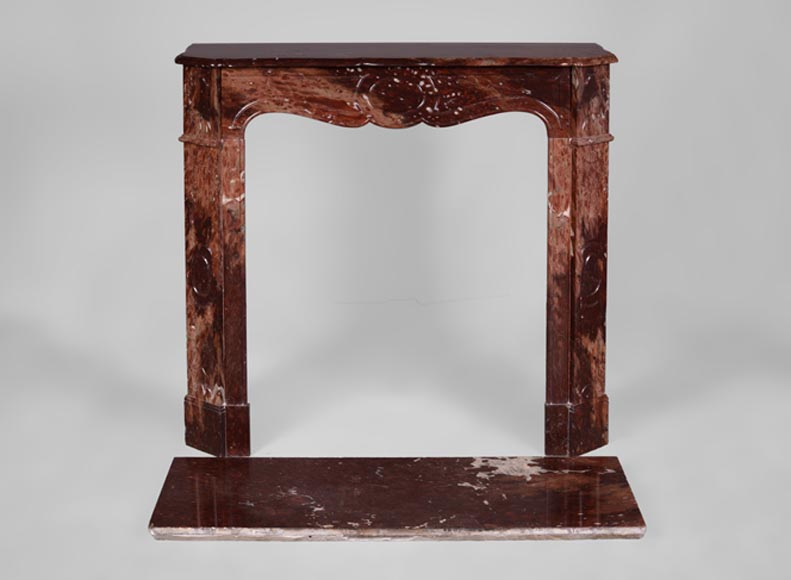 Antique Louis XV style fireplace, Pompadour model, in Griotte Sanguine marble  - Reference 3503