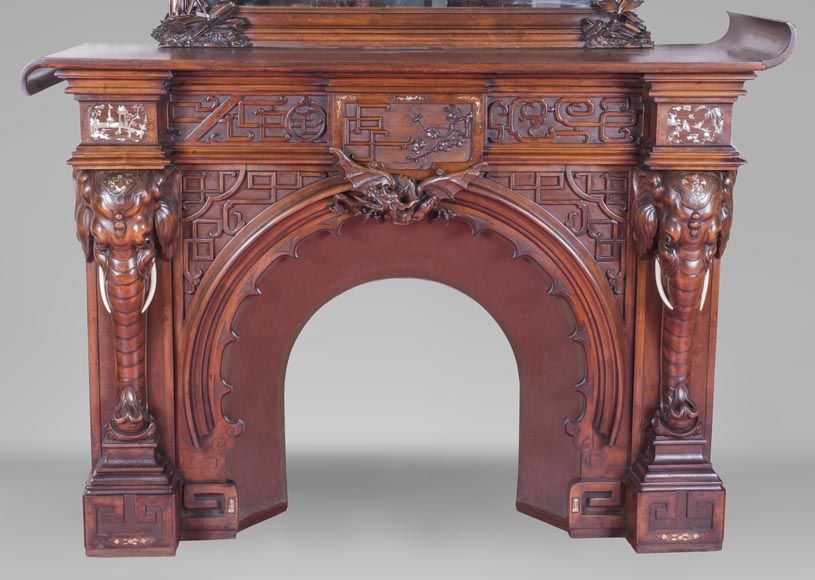 Maison des Bambous Alfred PERRET et Ernest VIBERT (attributed to), large Japanese style Fireplace with its trumeau, made out of harewood, decorated with elephant heads and dragons-1
