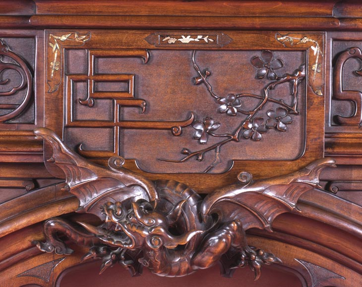 Maison des Bambous Alfred PERRET et Ernest VIBERT (attributed to), large Japanese style Fireplace with its trumeau, made out of harewood, decorated with elephant heads and dragons-3