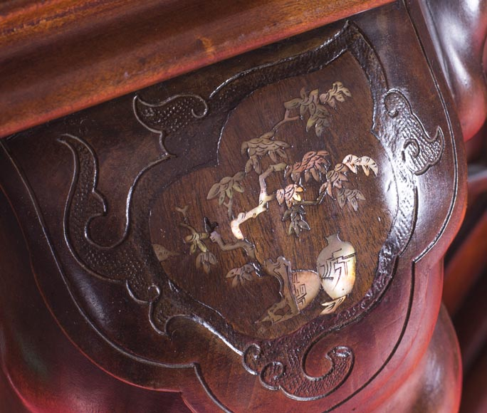 Maison des Bambous Alfred PERRET et Ernest VIBERT (attributed to), large Japanese style Fireplace with its trumeau, made out of harewood, decorated with elephant heads and dragons-11