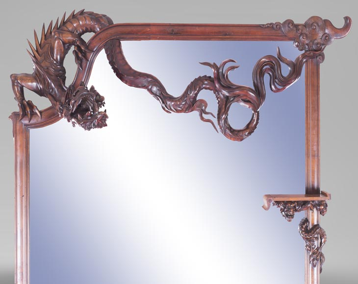 Maison des Bambous Alfred PERRET et Ernest VIBERT (attributed to), large Japanese style Fireplace with its trumeau, made out of harewood, decorated with elephant heads and dragons-13
