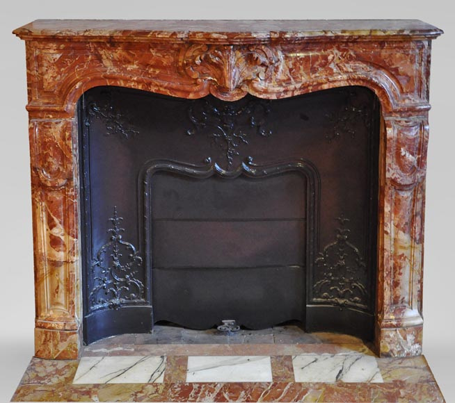 Antique Regence style fireplace in Montmeyan Breccia marble with large shell-0