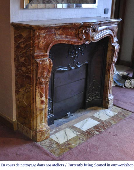 Antique Regence style fireplace in Montmeyan Breccia marble with large shell-2