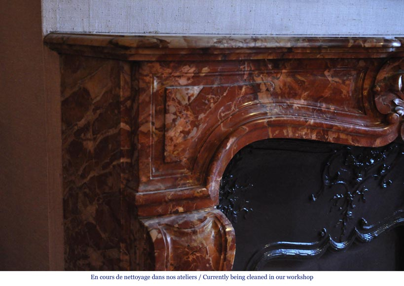 Antique Regence style fireplace in Montmeyan Breccia marble with large shell-3