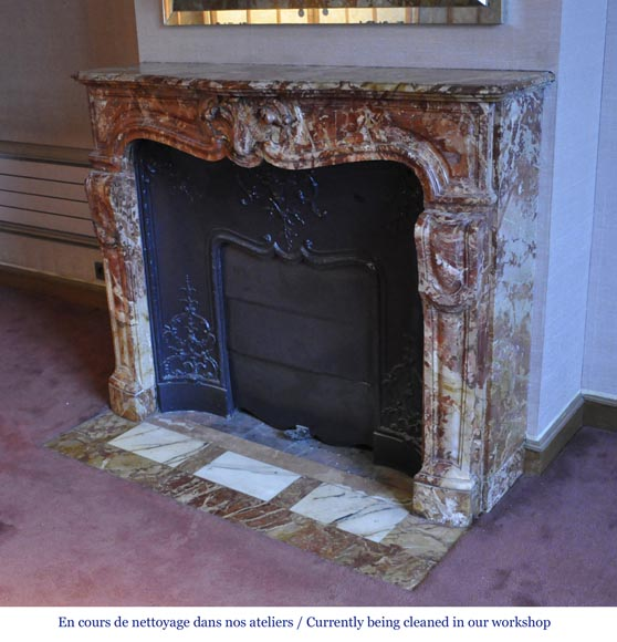 Antique Regence style fireplace in Montmeyan Breccia marble with large shell-6