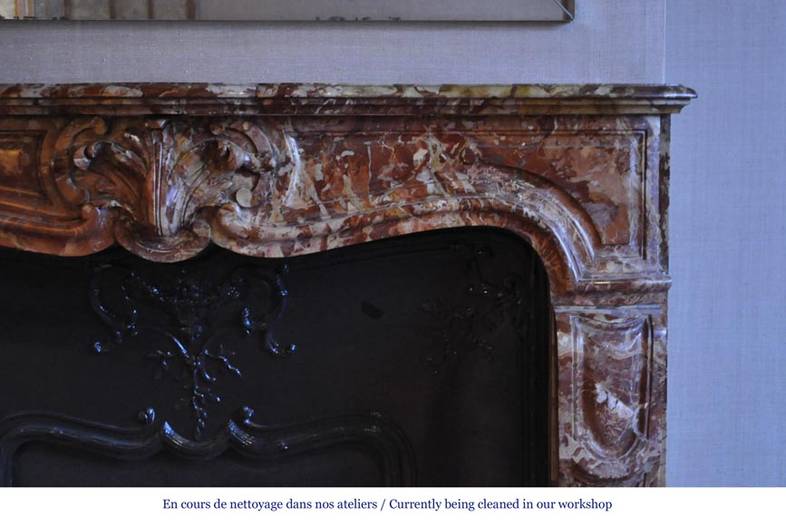 Antique Regence style fireplace in Montmeyan Breccia marble with large shell-7