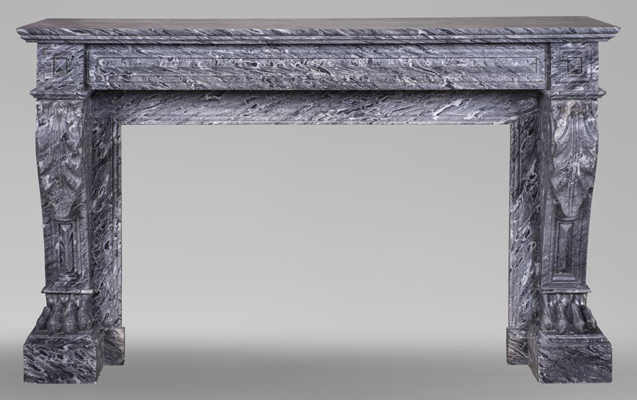 An antique Napoleon III style fireplace, with lion's paws, made out of Bleu Tigré marble-0