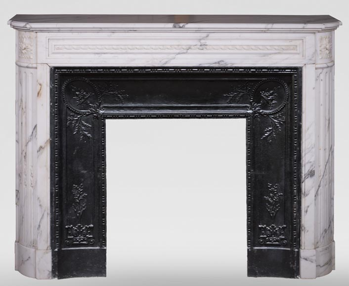 Antique Louis XVI style mantel with rounded corners, made out of Arabescato marble-0