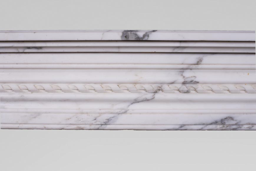 Antique Louis XVI style mantel with rounded corners, made out of Arabescato marble-1