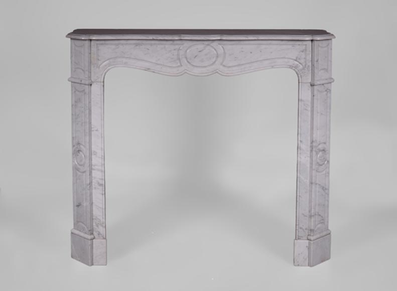 Antique Louis XV style fireplace, Pompadour model, in Carrara marble  - Reference 3522