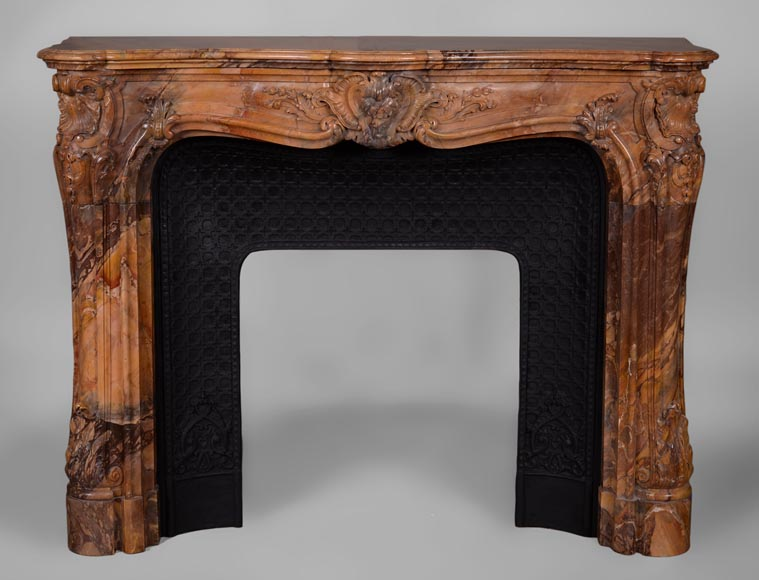 Beautiful antique Louis XV style fireplace made out of Sienna Brocatelle marble, richly carved-0