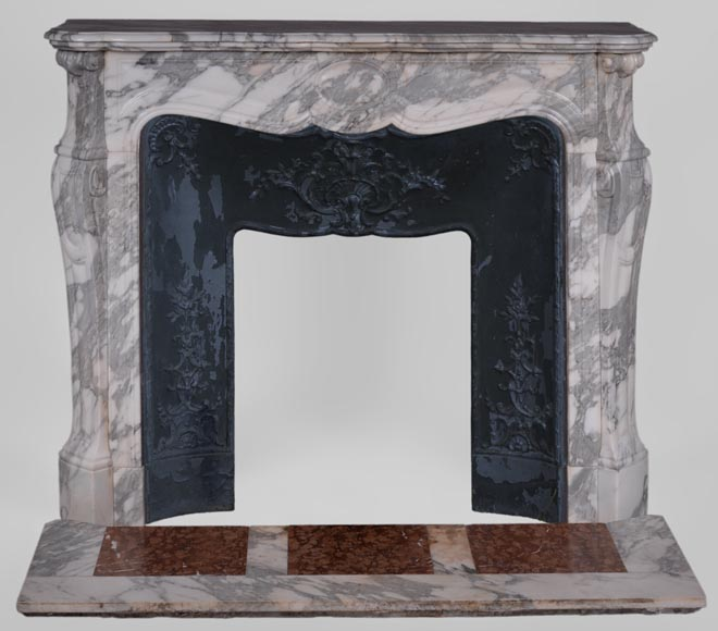 Antique Louis XV style fireplace, Pompadour model, in Arabescato marble -0