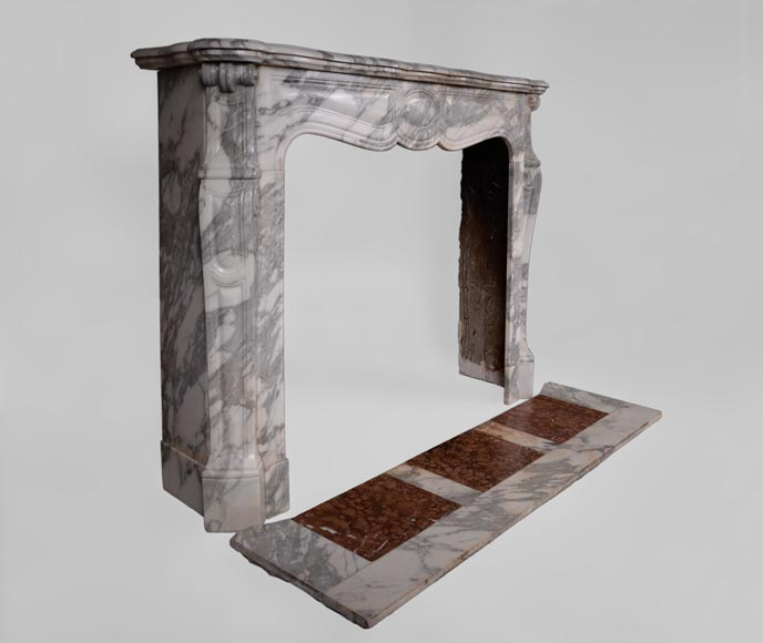 Antique Louis XV style fireplace, Pompadour model, in Arabescato marble -2