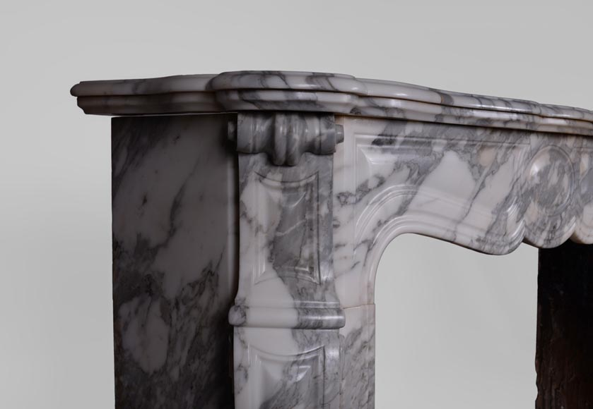 Antique Louis XV style fireplace, Pompadour model, in Arabescato marble -3
