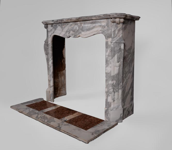 Antique Louis XV style fireplace, Pompadour model, in Arabescato marble -5