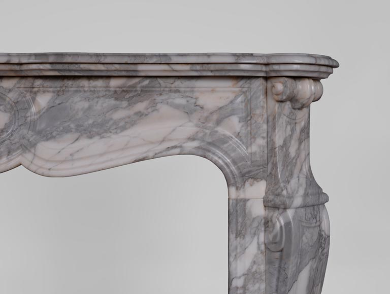 Antique Louis XV style fireplace, Pompadour model, in Arabescato marble -6