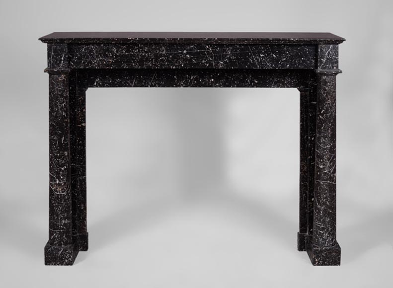 Antique Empire style fireplace in black marble mottled with white  - Reference 3531