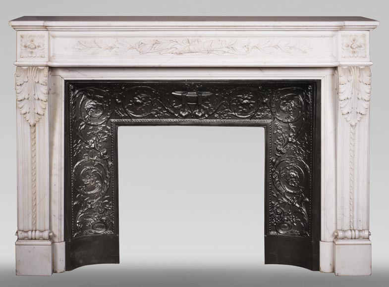 Antique Louis XVI style mantel in Carrara marble with quiver-0