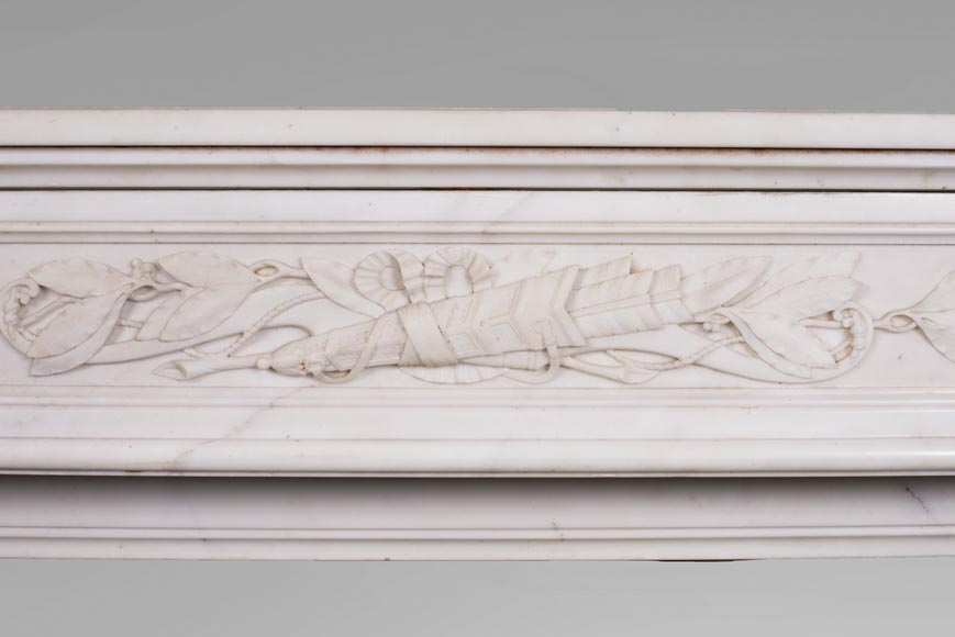 Antique Louis XVI style mantel in Carrara marble with quiver-1