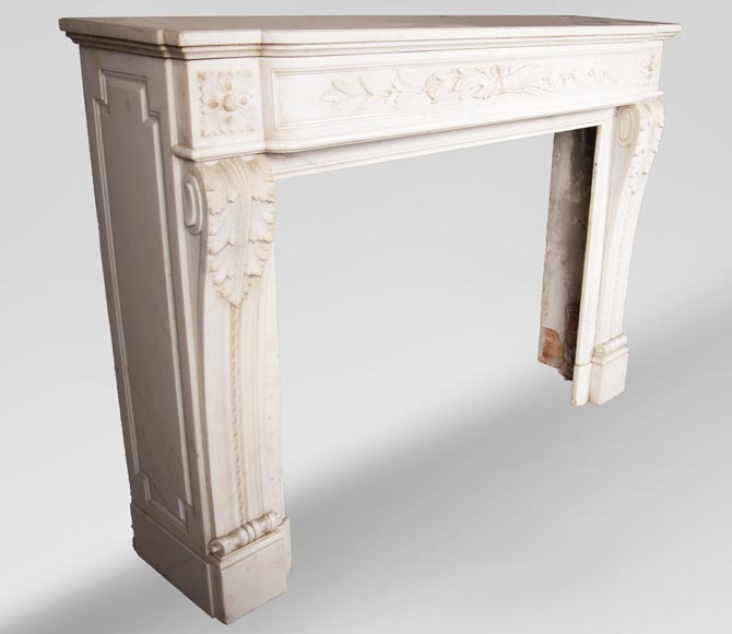 Antique Louis XVI style mantel in Carrara marble with quiver-3