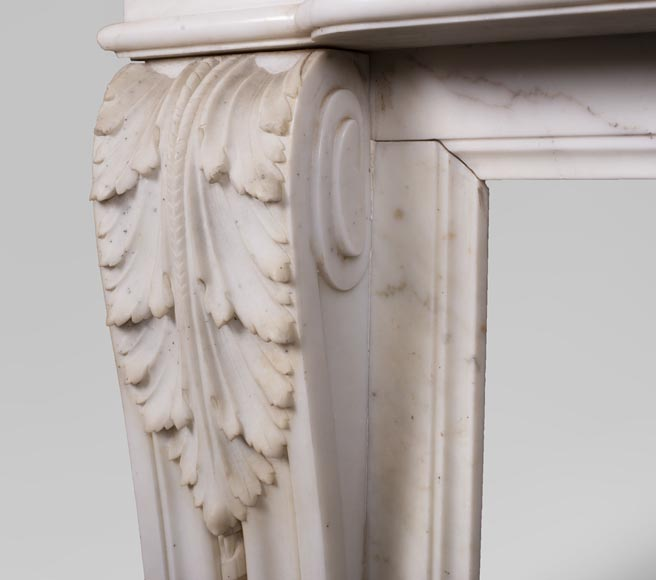 Antique Louis XVI style mantel in Carrara marble with quiver-5