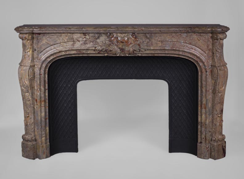 Beautiful antique Louis XV style fireplace in Sarrancolin marble-0