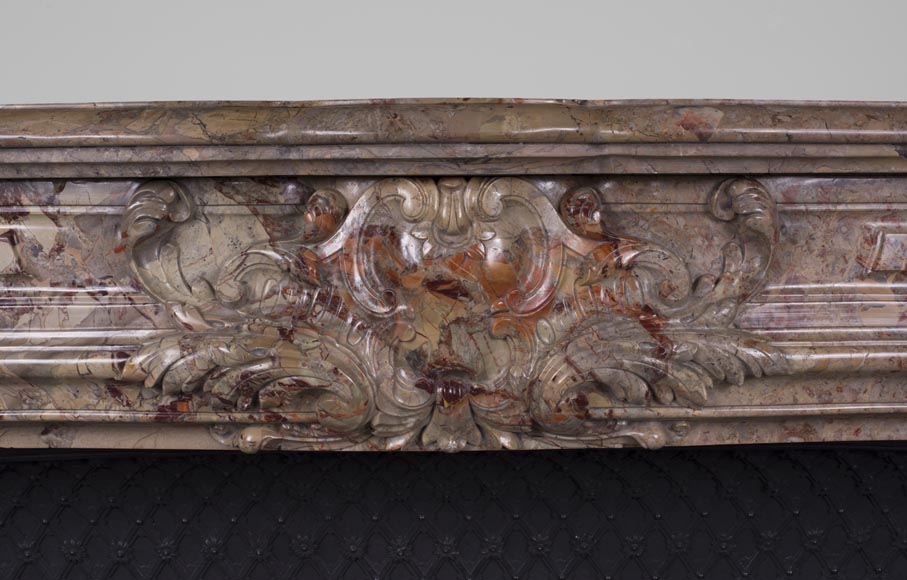Beautiful antique Louis XV style fireplace in Sarrancolin marble-1