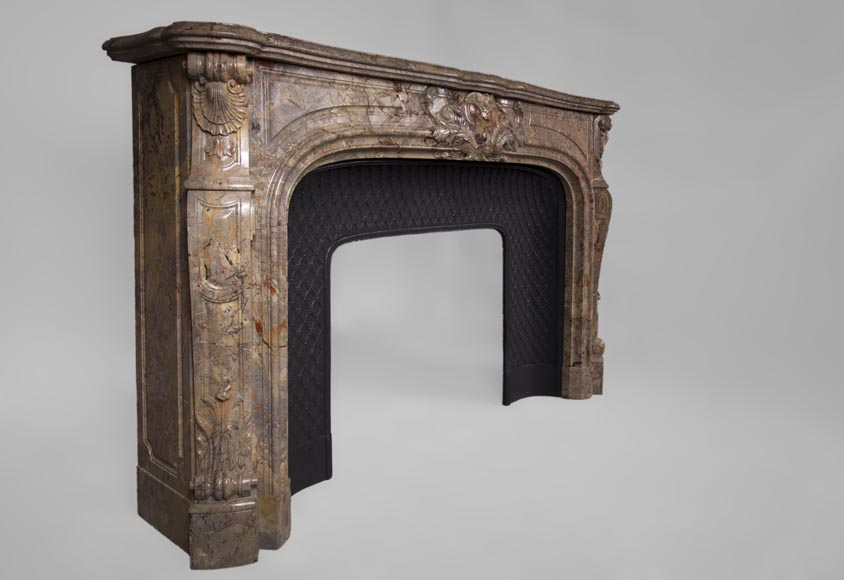 Beautiful antique Louis XV style fireplace in Sarrancolin marble-5