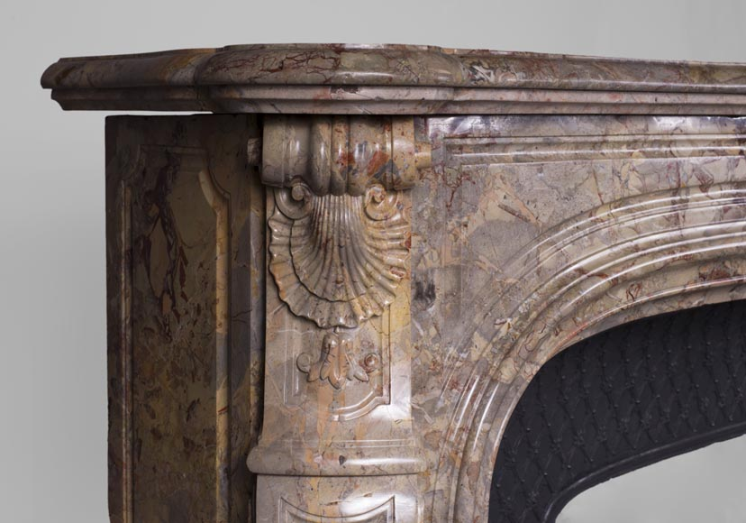 Beautiful antique Louis XV style fireplace in Sarrancolin marble-6