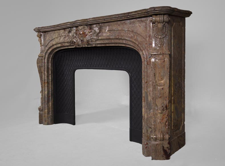 Beautiful antique Louis XV style fireplace in Sarrancolin marble-9