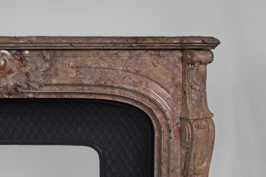 Beautiful antique Louis XV style fireplace in Sarrancolin marble-10