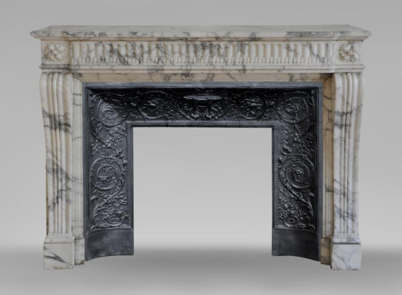 Antique Louis XVI style fireplace in Arabescato marble with flutings - Reference 3535