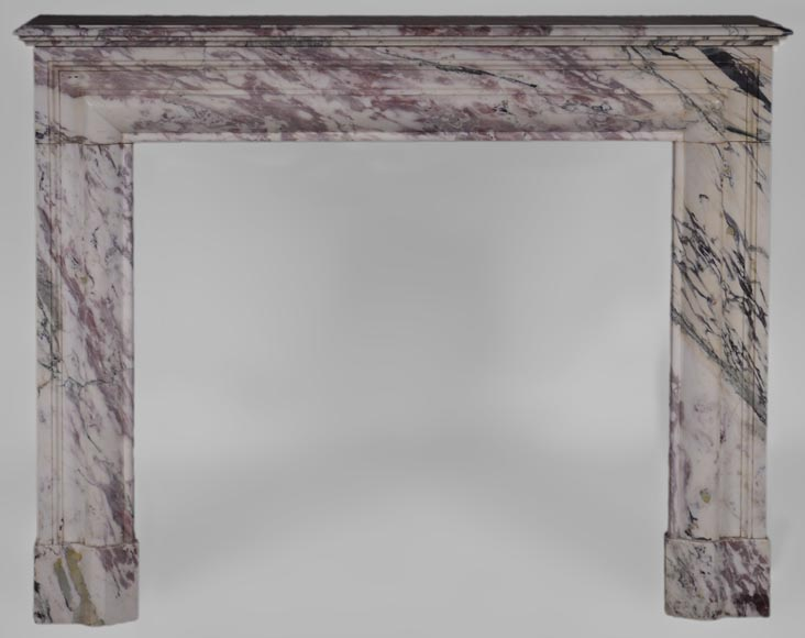 Antique Louis XIV style fireplace in pink veined marble - Reference 3537