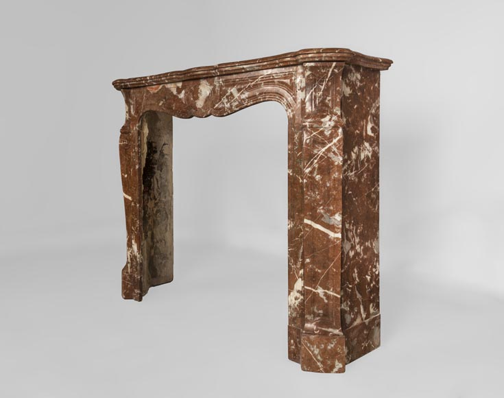 An antique Louis XV style fireplace made out of Rouge du Nord marble-7
