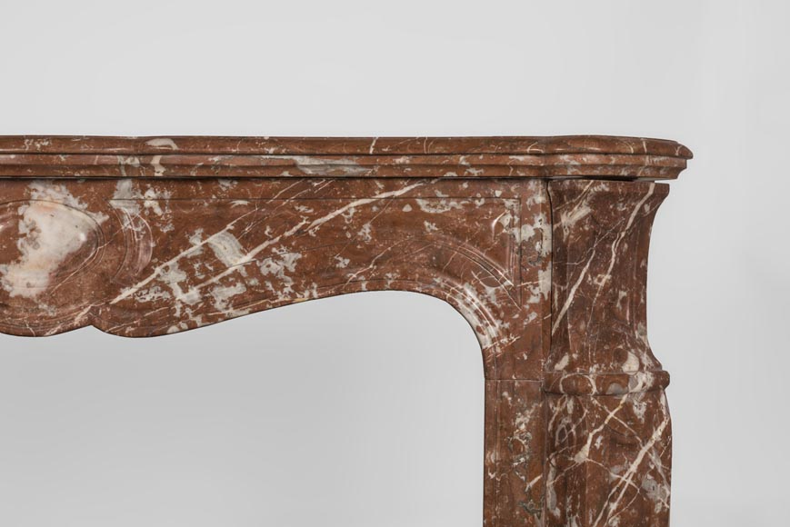An antique Louis XV style fireplace, Pompadour model, made out of Rouge du Nord marble-8