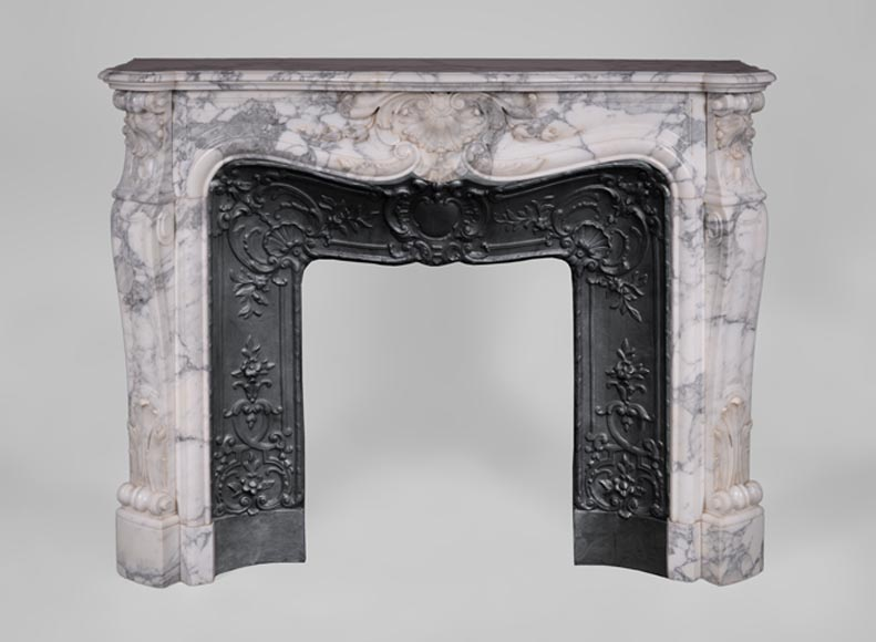 Antique Louis XV style fireplace in Arabescato marble with shells and bells of flowers - Reference 3545