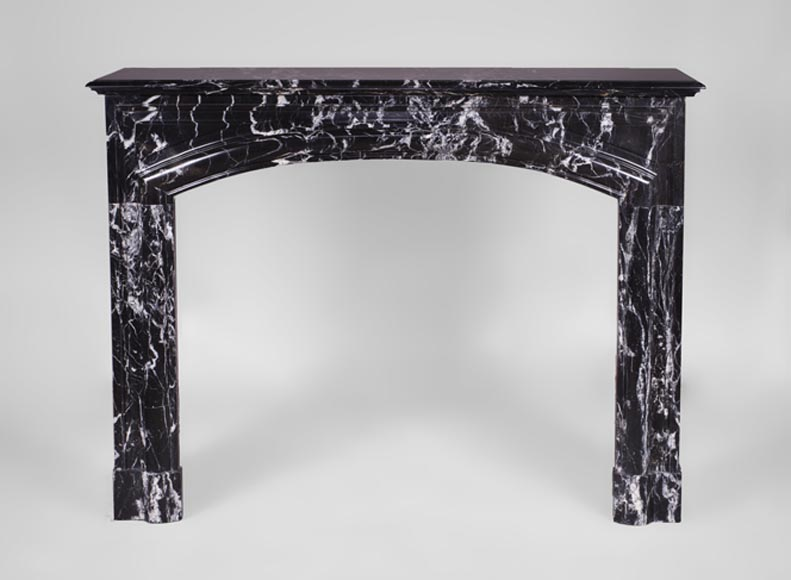 "Antique Louis XIV style fireplace with ""Bollection"" in Black Marquina marble - Reference 3549"